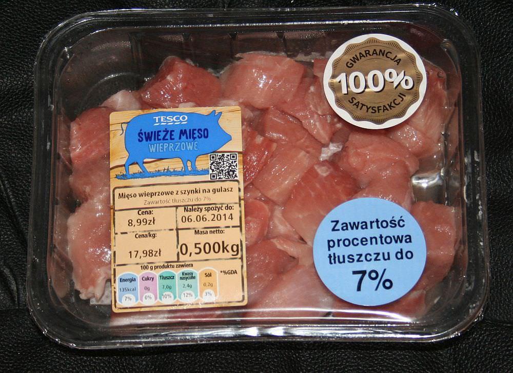 ile ma kalorii Mięso wieprzowe z szynki na gulasz