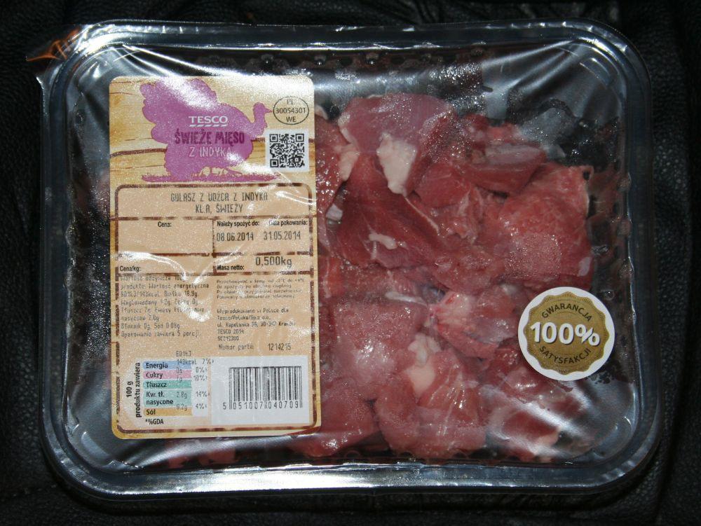 ile ma kalorii Mięso z udźca indyka na gulasz