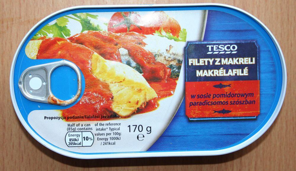 ile ma kalorii Filety z makreli w sosie pomidorowym